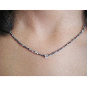 Shop Diamond Necklaces! 4mm Diamond With Necklace, Monogram Necklace, Monogram Initials, Personalized Jewelry, Diamond Initials, Black Diamond Tumbles 16IN strand   Natural genuine Diamond necklaces. Buy crystal jewelry, handmade handcrafted artisan jewelry for women.  Unique handmade gift ideas. #jewelry #beadednecklaces #beadedjewelry #gift #shopping #handmadejewelry #fashion #style #product #necklaces #affiliate #ad