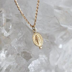 Shop Diamond Necklaces! Miraculous Medal, Diamond Necklace, 14k Gold, Silver, Virgin Mary, Religious Jewelry, Gift For Her, 18k Gold, Birthstone, Mary Charm   Natural genuine Diamond necklaces. Buy crystal jewelry, handmade handcrafted artisan jewelry for women.  Unique handmade gift ideas. #jewelry #beadednecklaces #beadedjewelry #gift #shopping #handmadejewelry #fashion #style #product #necklaces #affiliate #ad