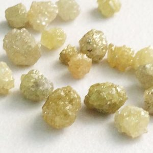 Shop Diamond Rondelle Beads! 3-5mm Yellow Green Rough Diamond Rondelles, Yellow Diamonds, Loose Diamonds, Rough Diamonds, 2 Pcs Conflict Free Uncut Diamonds For Jewelry | Natural genuine rondelle Diamond beads for beading and jewelry making.  #jewelry #beads #beadedjewelry #diyjewelry #jewelrymaking #beadstore #beading #affiliate #ad