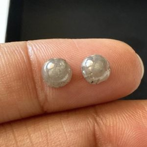 Shop Diamond Round Beads! 2 Piece Matched Pair 1.75CTW/5.7mm Natural Grey Round shaped Smooth Loose Diamond Cabochons For Earrings, DDS729/3 | Natural genuine round Diamond beads for beading and jewelry making.  #jewelry #beads #beadedjewelry #diyjewelry #jewelrymaking #beadstore #beading #affiliate #ad