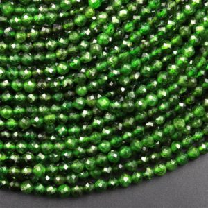 """Shop Faceted Gemstone Beads! Real Genuine Natural Green Chrome Diopside Faceted 2mm 3mm 4mm Round Gemstone Beads 15.5"""" Strand 