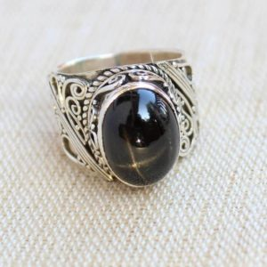 Shop Diopside Rings! Black Star Diopside Sterling Silver Ring, Gift For Her, Statement Rings, Anniversary Gift, Natural Star Diopside Gemstone, Christmas Jewelry   Natural genuine Diopside rings, simple unique handcrafted gemstone rings. #rings #jewelry #shopping #gift #handmade #fashion #style #affiliate #ad