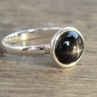 Black Star Diopside Sterling Silver Ring, Midi Ring, Gift For Her, Midi Rings, Anniversary Gift, Free Shipping, Natural Star Diopside Stone | Natural genuine Gemstone jewelry. Buy crystal jewelry, handmade handcrafted artisan jewelry for women.  Unique handmade gift ideas. #jewelry #beadedjewelry #beadedjewelry #gift #shopping #handmadejewelry #fashion #style #product #jewelry #affiliate #ad