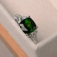 Genuine Diopside Ring, Cushion Cut Engagement Promise Ring, Sterling Silver Ring, green Gemstone Ring   Natural genuine Gemstone jewelry. Buy handcrafted artisan wedding jewelry.  Unique handmade bridal jewelry gift ideas. #jewelry #beadedjewelry #gift #crystaljewelry #shopping #handmadejewelry #wedding #bridal #jewelry #affiliate #ad