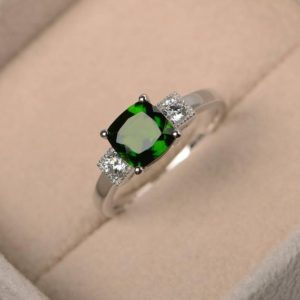 green gemstone ring,natural chrome diopside ring ,engagement ring,cushion cut,sterling silver ring | Natural genuine Gemstone rings, simple unique alternative gemstone engagement rings. #rings #jewelry #bridal #wedding #jewelryaccessories #engagementrings #weddingideas #affiliate #ad
