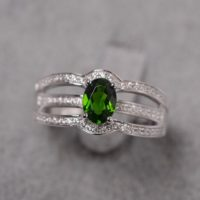 Green Diopside Ring Oval Cut White Gold Anniversary Ring For Women | Natural genuine Gemstone jewelry. Buy crystal jewelry, handmade handcrafted artisan jewelry for women.  Unique handmade gift ideas. #jewelry #beadedjewelry #beadedjewelry #gift #shopping #handmadejewelry #fashion #style #product #jewelry #affiliate #ad