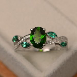 Shop Diopside Rings! Natural diopside ring, multi stone ring, leaf ring, sterling silver, chrome diopside ring, green gemstone ring   Natural genuine Diopside rings, simple unique handcrafted gemstone rings. #rings #jewelry #shopping #gift #handmade #fashion #style #affiliate #ad