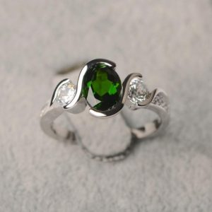 Shop Diopside Rings! Diopside Ring Oval Shape Sterling Silver Ring For Women Green Gemstone Ring   Natural genuine Diopside rings, simple unique handcrafted gemstone rings. #rings #jewelry #shopping #gift #handmade #fashion #style #affiliate #ad