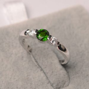 Shop Diopside Rings! Diopside Ring Round Shape White Gold Green Gemstone Ring For Girl   Natural genuine Diopside rings, simple unique handcrafted gemstone rings. #rings #jewelry #shopping #gift #handmade #fashion #style #affiliate #ad