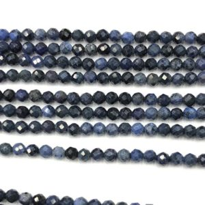 Shop Dumortierite Beads! Dumortierite Faceted Bead, Natural Gemstone Beads, Blue Round Stone Beads 2mm 3mm 4mm 15'' | Natural genuine faceted Dumortierite beads for beading and jewelry making.  #jewelry #beads #beadedjewelry #diyjewelry #jewelrymaking #beadstore #beading #affiliate #ad