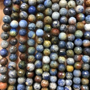 Shop Dumortierite Beads! Rainbow Dumortierite Faceted Beads,Natural Gemstone Beads, Round Semi precious Stone Beads 8mm 15'' | Natural genuine faceted Dumortierite beads for beading and jewelry making.  #jewelry #beads #beadedjewelry #diyjewelry #jewelrymaking #beadstore #beading #affiliate #ad