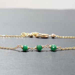 Shop Emerald Bracelets! Genuine Emerald Anklet, May Birthstone / Handmade Jewelry / Emerald Ankle Bracelet, Dainty Anklet, Gold Chain Anklet, Stacked Anklet, Boho   Natural genuine Emerald bracelets. Buy crystal jewelry, handmade handcrafted artisan jewelry for women.  Unique handmade gift ideas. #jewelry #beadedbracelets #beadedjewelry #gift #shopping #handmadejewelry #fashion #style #product #bracelets #affiliate #ad