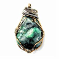 Emerald Necklace, Emerald Pendant Necklace, Wire Wrapped Emerald, Raw Emerald Necklace, Wire Wrapped Pendant, May Birthstone Necklace | Natural genuine Gemstone jewelry. Buy crystal jewelry, handmade handcrafted artisan jewelry for women.  Unique handmade gift ideas. #jewelry #beadedjewelry #beadedjewelry #gift #shopping #handmadejewelry #fashion #style #product #jewelry #affiliate #ad