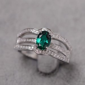 Emerald ring May birthstone white gold engagement ring oval cut green stone ring | Natural genuine Array rings, simple unique alternative gemstone engagement rings. #rings #jewelry #bridal #wedding #jewelryaccessories #engagementrings #weddingideas #affiliate #ad