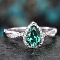 Pear Cut Green Emerald Engagement Ring White Gold Emerald Ring Vintage Real Diamond Halo Ring Unique May Birthstone Promise Wedding Ring | Natural genuine Gemstone jewelry. Buy handcrafted artisan wedding jewelry.  Unique handmade bridal jewelry gift ideas. #jewelry #beadedjewelry #gift #crystaljewelry #shopping #handmadejewelry #wedding #bridal #jewelry #affiliate #ad