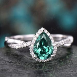 Pear cut green emerald engagement ring white gold emerald ring vintage real diamond halo ring unique May birthstone promise wedding ring | Natural genuine Array rings, simple unique alternative gemstone engagement rings. #rings #jewelry #bridal #wedding #jewelryaccessories #engagementrings #weddingideas #affiliate #ad