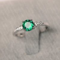 Emerald Ring Sterling Silver Engagement Ring For Women Round Cut May Birthstone Green Stone Ring | Natural genuine Gemstone jewelry. Buy handcrafted artisan wedding jewelry.  Unique handmade bridal jewelry gift ideas. #jewelry #beadedjewelry #gift #crystaljewelry #shopping #handmadejewelry #wedding #bridal #jewelry #affiliate #ad