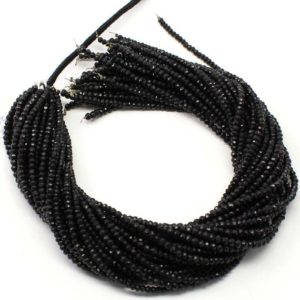 Exclusive Quality Black TOURMALINE Micro Faceted Rondelle Beads, 13 Inch Strand Natural Black Tourmaline Faceted Roundel Sized 3 mm Beads | Natural genuine rondelle Black Tourmaline beads for beading and jewelry making.  #jewelry #beads #beadedjewelry #diyjewelry #jewelrymaking #beadstore #beading #affiliate #ad