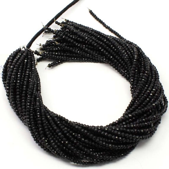 Exclusive Quality Black Tourmaline Micro Faceted Rondelle Beads, 13 Inch Strand Natural Black Tourmaline Faceted Roundel Sized 3 Mm Beads