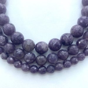 """Shop Lepidolite Faceted Beads! Faceted Lepidolite gemstone beads. Full 15"""" strand of faceted round beads, available 6-10mm.  Form of Mica.   Natural genuine faceted Lepidolite beads for beading and jewelry making.  #jewelry #beads #beadedjewelry #diyjewelry #jewelrymaking #beadstore #beading #affiliate #ad"""