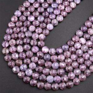 """Shop Lepidolite Beads! Faceted Natural Lepidolite 8mm Coin Beads Shimmering Mica Matrix Gemstone 15.5"""" Strand   Natural genuine beads Lepidolite beads for beading and jewelry making.  #jewelry #beads #beadedjewelry #diyjewelry #jewelrymaking #beadstore #beading #affiliate #ad"""