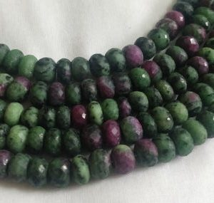 Shop Ruby Zoisite Rondelle Beads! Faceted Natural Ruby Zoisite Rondelle Bead 7mm – 9mm Laser Diamond Cut Faceted Real Genuine Red Ruby in Green Zoisite Gemstone 20 Cms Strand | Natural genuine rondelle Ruby Zoisite beads for beading and jewelry making.  #jewelry #beads #beadedjewelry #diyjewelry #jewelrymaking #beadstore #beading #affiliate #ad