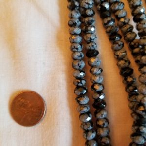 Shop Obsidian Rondelle Beads! Faceted Snowflake Obsidian Rondelle Beads 7mm Beautiful! 16 Inch Stings | Natural genuine rondelle Obsidian beads for beading and jewelry making.  #jewelry #beads #beadedjewelry #diyjewelry #jewelrymaking #beadstore #beading #affiliate #ad