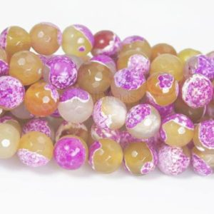 Shop Faceted Gemstone Beads! yellow fire agate gemstone beads – fushcia faceted agate round beads –  agate beads supplies – agate jewelry beads -15 inch | Natural genuine faceted Gemstone beads for beading and jewelry making.  #jewelry #beads #beadedjewelry #diyjewelry #jewelrymaking #beadstore #beading #affiliate #ad