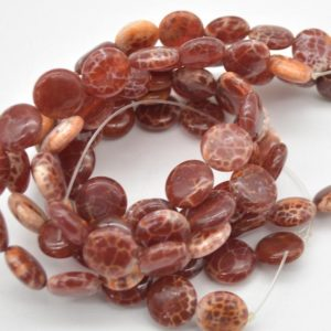 """High Quality Grade A Fire Agate Semi-precious Gemstone Disc Coin Beads – Approx 14mm – 15.5"""" Strand   Natural genuine other-shape Gemstone beads for beading and jewelry making.  #jewelry #beads #beadedjewelry #diyjewelry #jewelrymaking #beadstore #beading #affiliate #ad"""