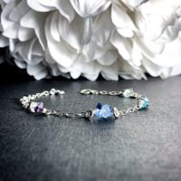 Fluorite Crystal Bracelet Satellite Chain Anklet Sterling Silver   Natural genuine Gemstone jewelry. Buy crystal jewelry, handmade handcrafted artisan jewelry for women.  Unique handmade gift ideas. #jewelry #beadedjewelry #beadedjewelry #gift #shopping #handmadejewelry #fashion #style #product #jewelry #affiliate #ad