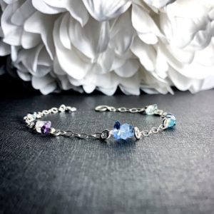 Shop Fluorite Bracelets! Fluorite Crystal Bracelet Satellite Chain Anklet Sterling Silver | Natural genuine Fluorite bracelets. Buy crystal jewelry, handmade handcrafted artisan jewelry for women.  Unique handmade gift ideas. #jewelry #beadedbracelets #beadedjewelry #gift #shopping #handmadejewelry #fashion #style #product #bracelets #affiliate #ad