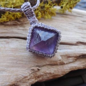 Shop Fluorite Necklaces! Purple Fluorite Octahedron macrame necklace /calming relax healing stone | Natural genuine Fluorite necklaces. Buy crystal jewelry, handmade handcrafted artisan jewelry for women.  Unique handmade gift ideas. #jewelry #beadednecklaces #beadedjewelry #gift #shopping #handmadejewelry #fashion #style #product #necklaces #affiliate #ad