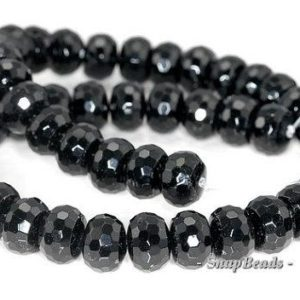 11x8mm Black Tourmaline Gemstone Faceted Rondelle Loose Beads 7.5 inch Half Strand LOT 1,2,6 and 12 (90191392-B9-516) | Natural genuine rondelle Black Tourmaline beads for beading and jewelry making.  #jewelry #beads #beadedjewelry #diyjewelry #jewelrymaking #beadstore #beading #affiliate #ad