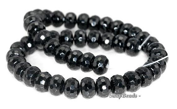 11x8mm Black Tourmaline Gemstone Faceted Rondelle Loose Beads 7.5 Inch Half Strand Lot 1,2,6 And 12 (90191392-b9-516)
