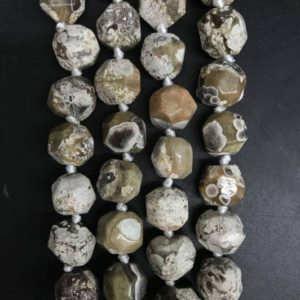 Shop Ocean Jasper Faceted Beads! Full strand 24pcs,White Ocean Agate Freeform Faceted Round beads,Small Size Natural Ocean Jasper Raw Gems Cut Slice Nugget Pendants 13-15mm | Natural genuine faceted Ocean Jasper beads for beading and jewelry making.  #jewelry #beads #beadedjewelry #diyjewelry #jewelrymaking #beadstore #beading #affiliate #ad
