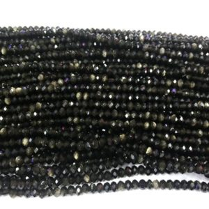 Shop Obsidian Rondelle Beads! Genuine Faceted Gold Obsidian 3mm / 4mm Rondelle Cut Natural Loose Gemstone Grade A Beads 15 Inch Jewelry Bracelet Necklace Material Supply | Natural genuine rondelle Obsidian beads for beading and jewelry making.  #jewelry #beads #beadedjewelry #diyjewelry #jewelrymaking #beadstore #beading #affiliate #ad