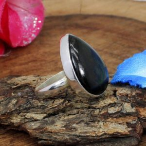 Golden Sheen Obsidian Ring, 925 Sterling Silver Ring,Boho Ring,Lower Prices,Handmade Ring,Gift for Her,Men Women Ring,Semi Precious Ring | Natural genuine Golden Obsidian rings, simple unique handcrafted gemstone rings. #rings #jewelry #shopping #gift #handmade #fashion #style #affiliate #ad