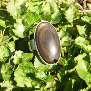 Shop Golden Obsidian Rings! Golden Sheen Obsidian Ring- Protective Stone- Shields Negativity- Silver Statement Ring | Natural genuine Golden Obsidian rings, simple unique handcrafted gemstone rings. #rings #jewelry #shopping #gift #handmade #fashion #style #affiliate #ad