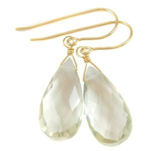 Shop Green Amethyst Earrings! Green Amethyst Earrings Prasiolite Faceted Long Pear Teardrop 14k Solid Gold or Filled or Sterling Silver Simply Daily Pale Soft Green Drop   Natural genuine Green Amethyst earrings. Buy crystal jewelry, handmade handcrafted artisan jewelry for women.  Unique handmade gift ideas. #jewelry #beadedearrings #beadedjewelry #gift #shopping #handmadejewelry #fashion #style #product #earrings #affiliate #ad