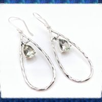 Green Amethyst Silver Earrings – Long Dangly Oval Shape Amethyst Earrings – Sterling Silver | Natural genuine Gemstone jewelry. Buy crystal jewelry, handmade handcrafted artisan jewelry for women.  Unique handmade gift ideas. #jewelry #beadedjewelry #beadedjewelry #gift #shopping #handmadejewelry #fashion #style #product #jewelry #affiliate #ad