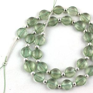 Shop Green Amethyst Beads! Natural Green Amethyst Beads, micro Faceted, coin Shape, 9-10mm Beads, Faceted Beads, 15 Inch Strand, 29 Pieces Approx, Aaa Quality, Wholesale   Natural genuine faceted Green Amethyst beads for beading and jewelry making.  #jewelry #beads #beadedjewelry #diyjewelry #jewelrymaking #beadstore #beading #affiliate #ad