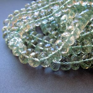 Green amethyst rondelles • 8-9-10mm Huge Size • AMAZING DEAL • AAA micro faceted • Natural genuine prasiolite • Light pale pastel green | Natural genuine beads Green Amethyst beads for beading and jewelry making.  #jewelry #beads #beadedjewelry #diyjewelry #jewelrymaking #beadstore #beading #affiliate #ad