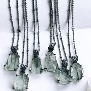 Shop Green Amethyst Jewelry! Green Amethyst necklace, raw stone necklace, rough stone necklace, gift for her, prasiolite necklace | Natural genuine Green Amethyst jewelry. Buy crystal jewelry, handmade handcrafted artisan jewelry for women.  Unique handmade gift ideas. #jewelry #beadedjewelry #beadedjewelry #gift #shopping #handmadejewelry #fashion #style #product #jewelry #affiliate #ad