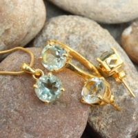 Natural Green Amethyst Ring Earrings Pendant Jewelry Set, Statement Jewelry, 18k Gold Plated Silver, Anniversary Gift, Bridal Jewelry Set | Natural genuine Gemstone jewelry. Buy handcrafted artisan wedding jewelry.  Unique handmade bridal jewelry gift ideas. #jewelry #beadedjewelry #gift #crystaljewelry #shopping #handmadejewelry #wedding #bridal #jewelry #affiliate #ad
