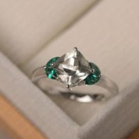 Five Stone Ring, Natural Green Amethyst Cocktail Ring, Cushion Cut, Solid Silver, Funny Gifts | Natural genuine Gemstone jewelry. Buy crystal jewelry, handmade handcrafted artisan jewelry for women.  Unique handmade gift ideas. #jewelry #beadedjewelry #beadedjewelry #gift #shopping #handmadejewelry #fashion #style #product #jewelry #affiliate #ad
