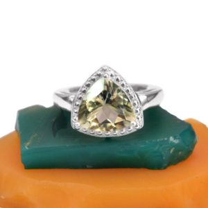 Shop Green Amethyst Rings! Natural Amethyst Rings, 12mm Trillion Green Amethyst Ring, Rose Cut Gemstone Ring, 925 Sterling Silver Prong Ring, Gift Ring For Women | Natural genuine Green Amethyst rings, simple unique handcrafted gemstone rings. #rings #jewelry #shopping #gift #handmade #fashion #style #affiliate #ad