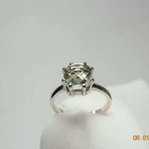Shop Green Amethyst Rings! Prasiolite Ring, Green Amethyst Ring, Solitaire Checkboard Cut 8 mm Square 2+ carats, set in 925 Sterling Silver 8 Prong Ring | Natural genuine Green Amethyst rings, simple unique handcrafted gemstone rings. #rings #jewelry #shopping #gift #handmade #fashion #style #affiliate #ad