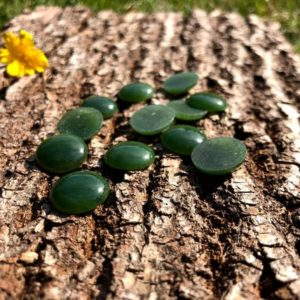 Shop Jade Cabochons! Green Jade Cabochon, 15mm Canadian Nephrite Jade (sold individually) | Natural genuine stones & crystals in various shapes & sizes. Buy raw cut, tumbled, or polished gemstones for making jewelry or crystal healing energy vibration raising reiki stones. #crystals #gemstones #crystalhealing #crystalsandgemstones #energyhealing #affiliate #ad