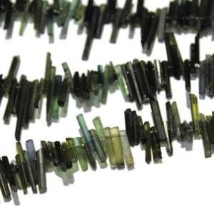 """Shop Green Tourmaline Beads! Natural Raw Green Tourmaline Sticks Beads,Natural Tourmaline Raw Crystals Beads,Tourmaline Gemstone,Size 8mm to 15mm 14"""" Inch Strand 