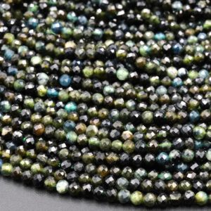 """Shop Green Tourmaline Beads! Natural Paraiba Green Tourmaline Faceted 3mm 4mm Round Beads Diamond Cut Gemstone 16"""" Strand 